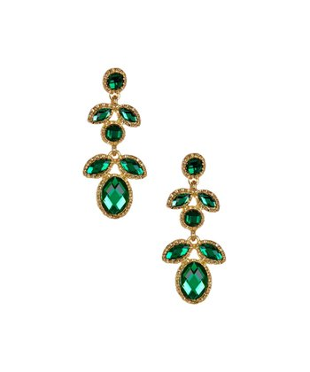 Gold & Emerald Leaf Drop Earrings