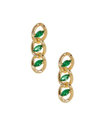 Gold & Emerald Chain Dangle Earrings