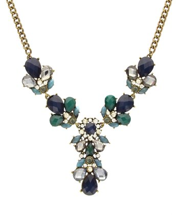 Brass & Blue Ornate Stone Necklace