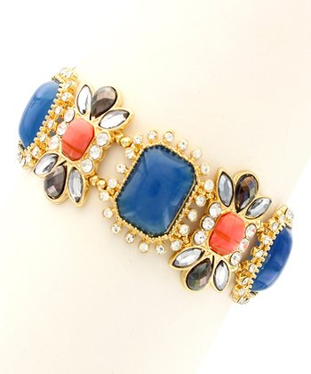 Gold & Navy Floral Stone Stretch Bracelet