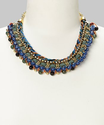 Gold & Blue Mixed Media Bib Necklace