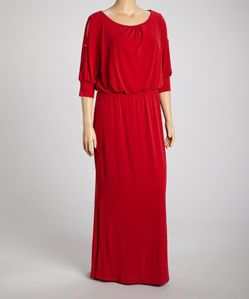 Red Cutout Maxi Dress - Plus