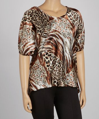 Brown Lace Animal Hi-Low Top - Plus