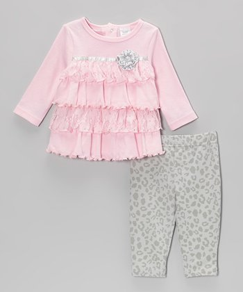 Pink Tier Ruffle Bow Tunic & Gray Leopard Leggings