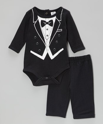 Baby Essentials Black Tuxedo Bodysuit & Pants - Infant