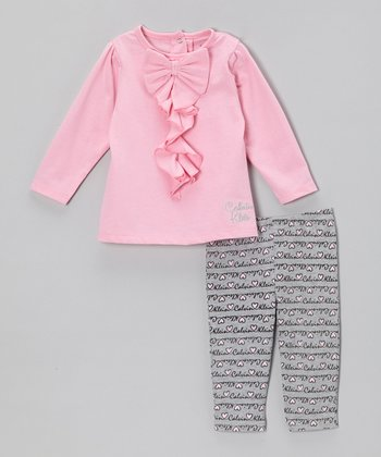 Pink Ruffle Bow Tunic & Leggings