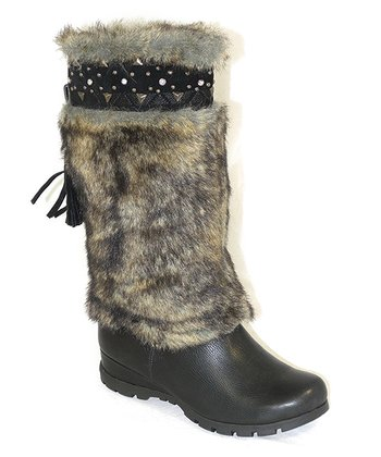 Black Faux Fur Boot