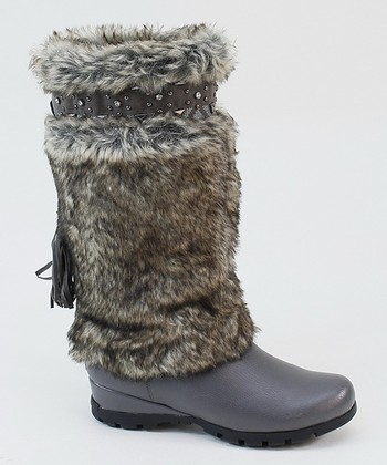 Gray Faux Fur Boot