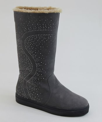 Gray Rhinestone Boot