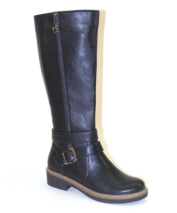Black Long Zipper Boot