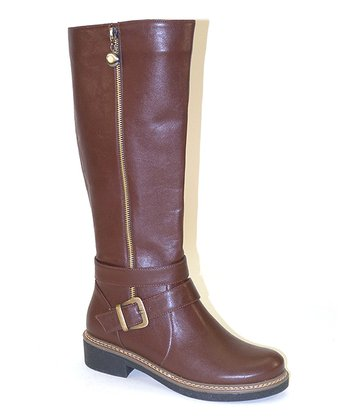 Light Brown Long Zipper Boot