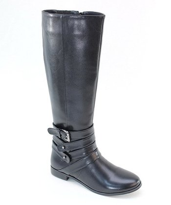 Black Four Strap Buckle Boot