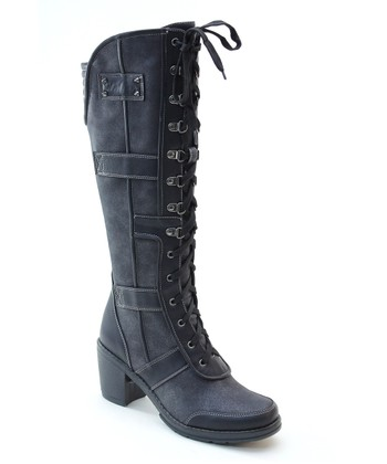 Black Lace-Up Combat Boot