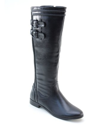 Black Strapped Riding Boot