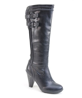 Black Two Buckle Heel Boot
