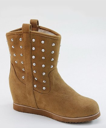 Tan Pull-On Stud Boot