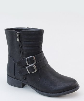Black Distressed Ankle Boot
