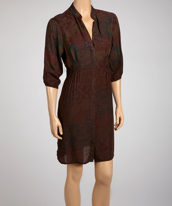 Ombré Brown V-Neck Dress