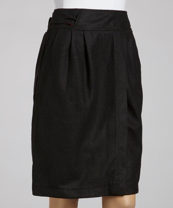 Black Candy Wool-Blend Skirt