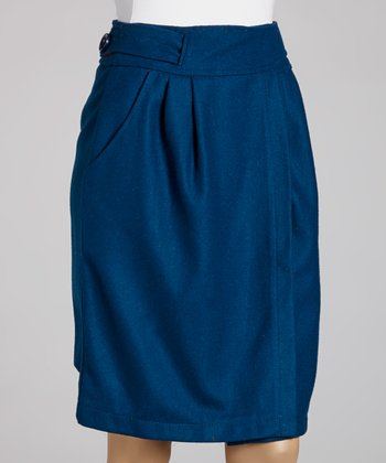 Teal Candy Wool-Blend Skirt