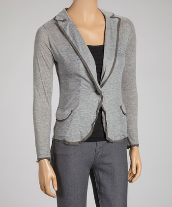 Medium Gray One-Button Blazer