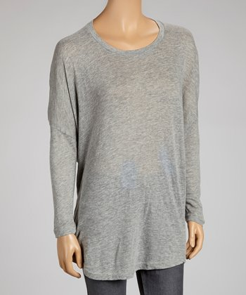 Gray Scoop Neck Swing Tunic