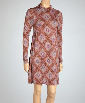 Pink Medallion Mock Neck Dress