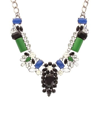 Emerald & Gunmetal Crystal Collar Necklace