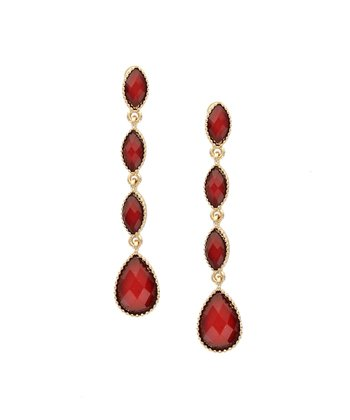 Gold & Red Teardrop Earrings