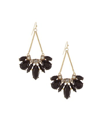 Black & Gold Marquise Chandelier Earrings