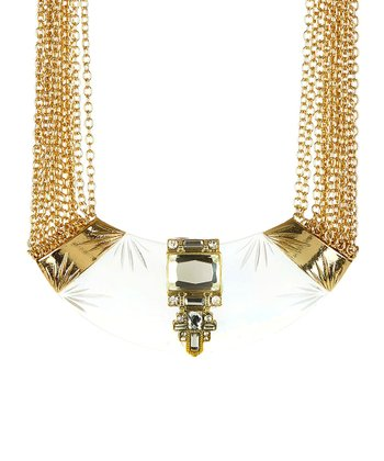 Clear & Gold Crescent Crystal Collar Necklace