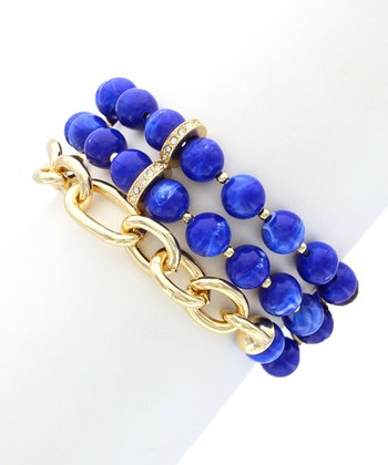 Gold Bead & Chain Stacked Stretch Bracelet
