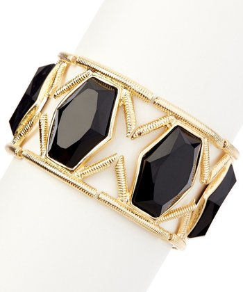Black & Gold Royal Jewel Stretch Bracelet