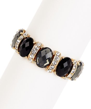 Black & Gold Sparkle Stone Stretch Bracelet
