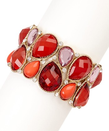Gold & Red Crystal Teardrop Stretch Bracelet