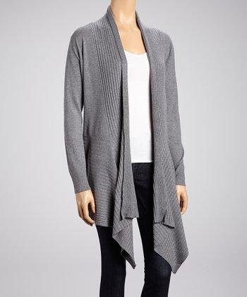 High Secret Gray Long-Sleeve Open Cardigan