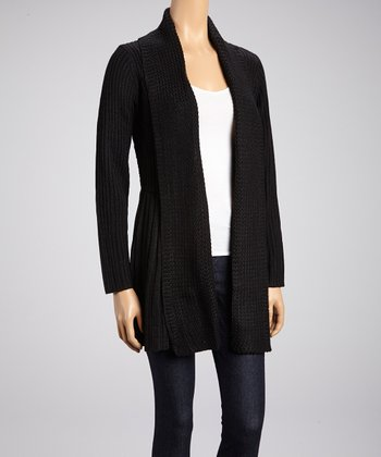 Black Crocheted-Back Open Cardigan