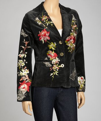 Black Corduroy Flowers & Butterflies Embroidered Blazer