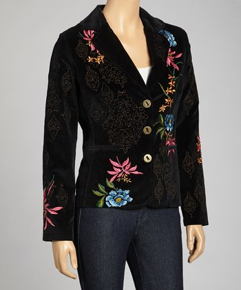 Black Corduroy Floral Embroidered Blazer