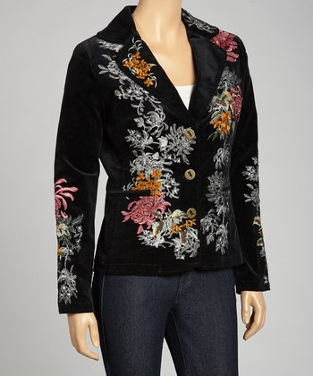 Black Floral Vine Embroidered Blazer