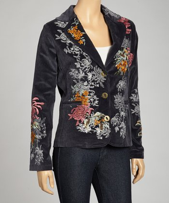 Navy Floral Vine Embroidered Blazer