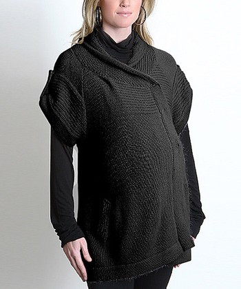 Black Everly Maternity Wrap Sweater