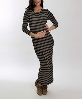 Charcoal Stripe Genevieve Maternity Maxi Dress