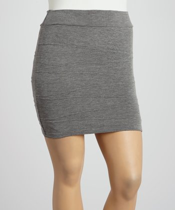 Gray Seamed Skirt - Plus