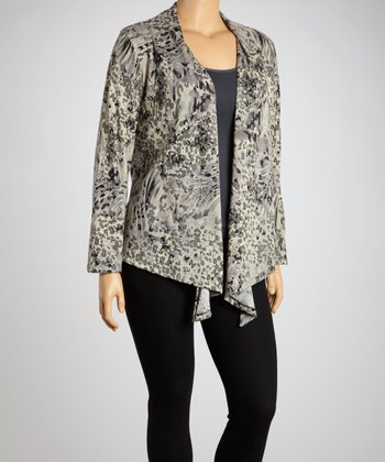 Charcoal Abstract Open Cardigan - Plus