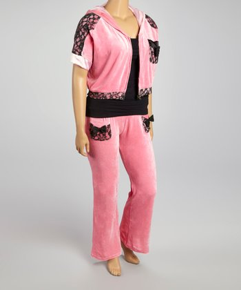 Pink & Black Short-Sleeve Track Jacket & Pants - Plus