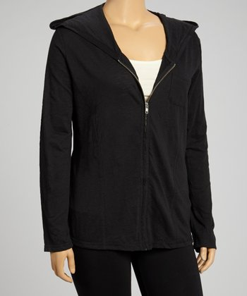 Black Yoga Zip-Up Hoodie - Plus