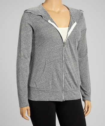 Dark Gray Zip-Up Hoodie - Plus