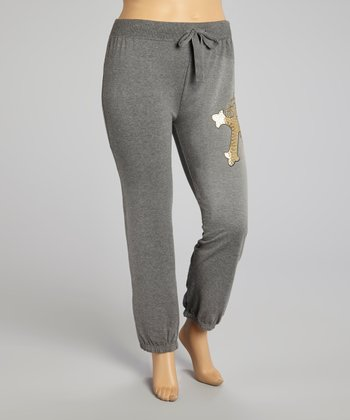 Heather Charcoal Fleur-de-Lis Sweatpants - Plus