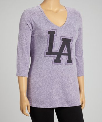 Heather Gray 'LA' Three-Quarter Sleeve Top - Plus